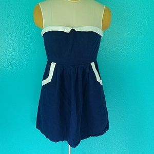 Retro Navy Blue Mod Strapless Sun Dress